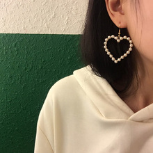 Japanese Korean jewelry sweet inlaid pearl hollow love heart stud earrings clips with accessories