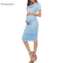 New Casual Pregnants Clothing Maternity Pure Color Dress Short Sleeve Summer Temperament Pregnant Clothes