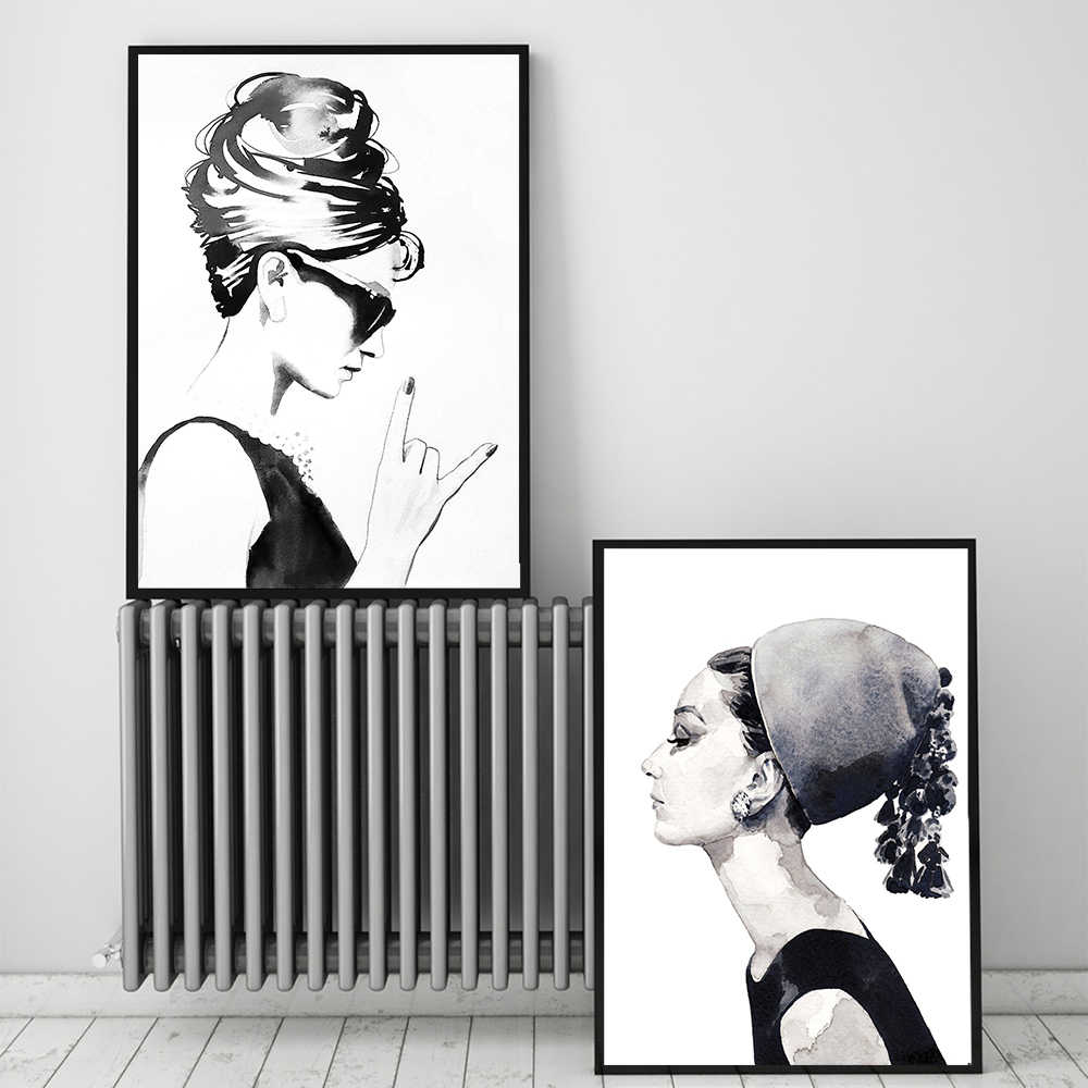 Home Decoration Painting Fashion Audrey Hepburn Modular Nordic Prints Pictures Living Room Creative Style Canvas Poster Wall Art