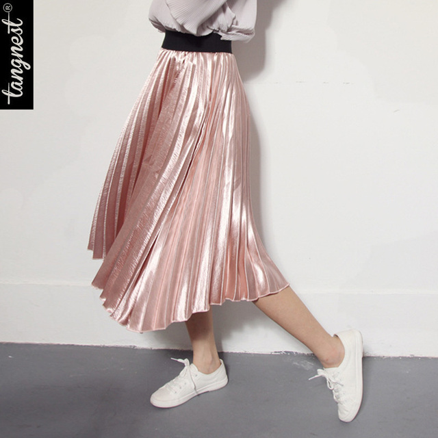 TANGNEST Women Pleated Skirt 2017 Fashion Spring Autumn Skirt Mid-Calf High Waist Metal Color WQC431