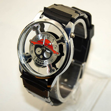 personality animation hollow out quartz wrist watch skull head one piece theme logo perspective watches