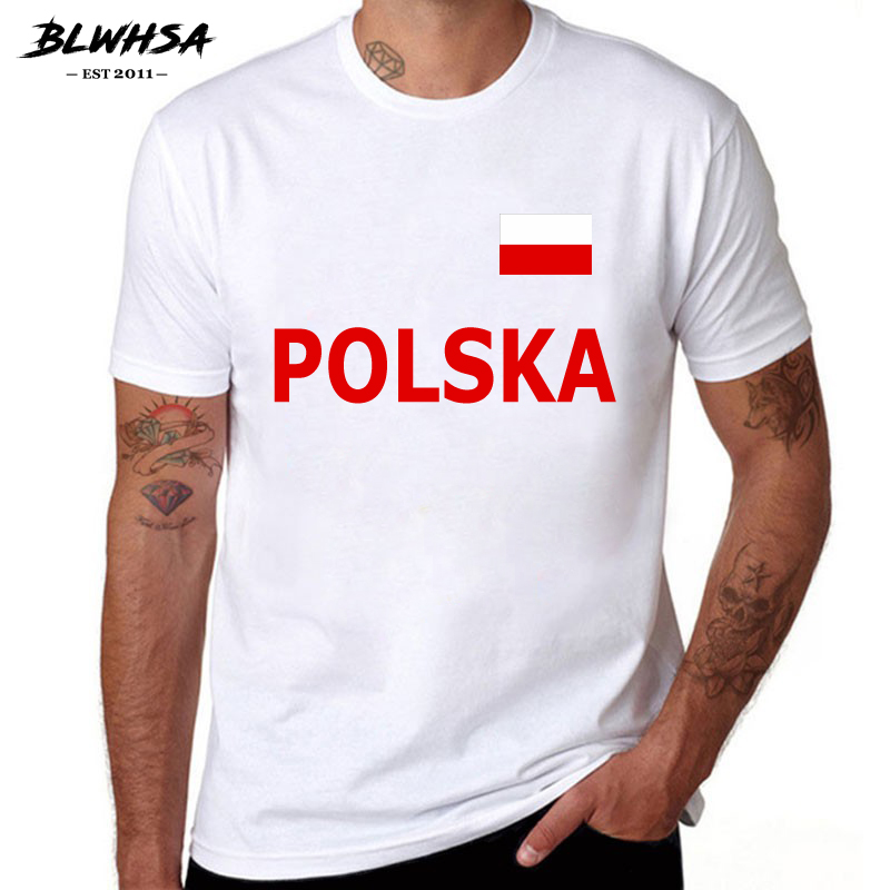 BLWHSA Poland Casual Men T Shirt Poland Cheers Tee Short Sleeve O-neck T-shirt Awesome T Shirts Top Clothing