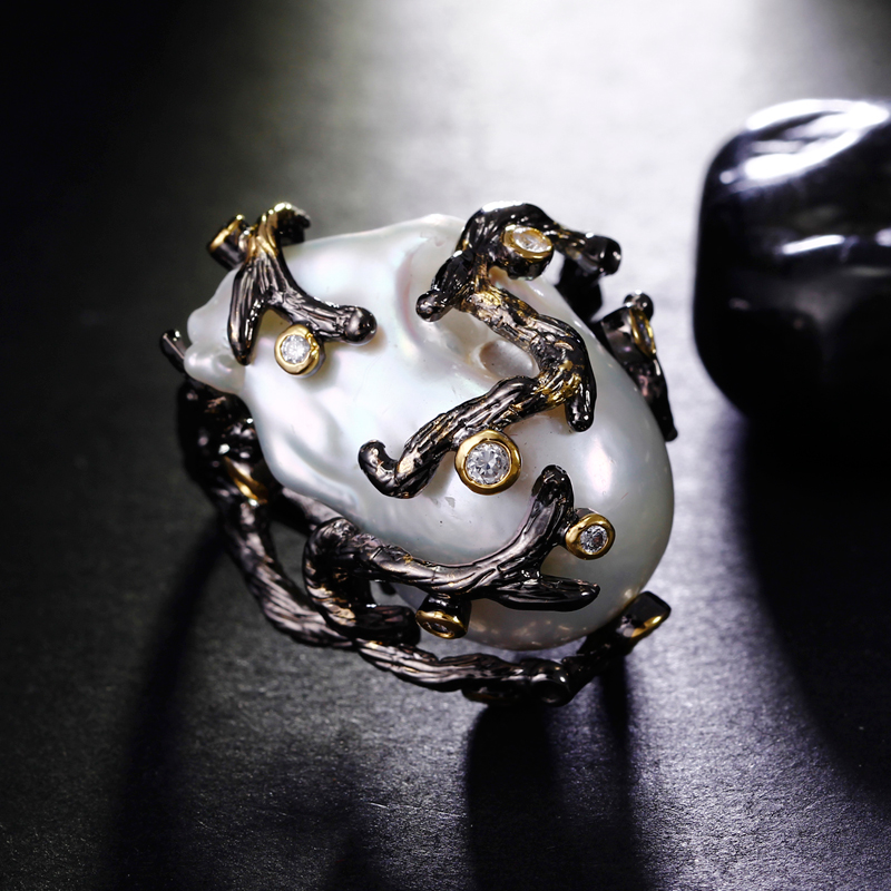 Luxury irregular natural Pearl Ring Setting with cubic zircon fresh water Party ring for women