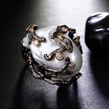 Роскошные Нерегулярные натуральный жемчуг кольцо Установка с фианит и пресной воды партия кольцо для женщин жемчуг ювелирные изделия