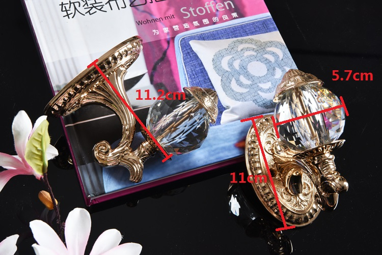 AIBOULLY 2 pièces/ensemble mode cristal rideau porte-crochets cintre Bronze présentoir mur crochet rideau décoration accessoires - 6