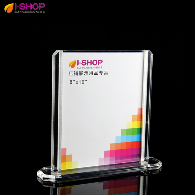 Double Sided Acrylic Photo Frame With Base Clear Picture Frame 8x10