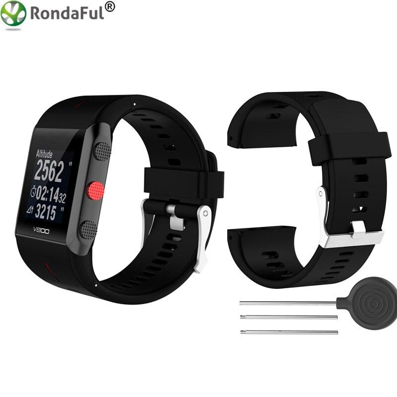 Silicone Remplacement Wrist Watch Band pour Polaire V800 Bracelet À Puce avec Outil montre Smart watch Bracelet pour Hommes Femmes Noir Blanc bleu