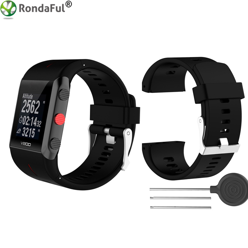 Silicone Replacement Wrist Watch Band for Polar V800 Smart Bracelet with Tool Smart watch Strap for Men Women Black White Blue цена