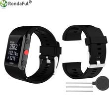 Силиконовые заменить Для мужчин t наручные часы ремешок для Polar v800 умный браслет с инструментом Смарт-часы ремешок для Для мужчин женский, черный белого и синего цвета