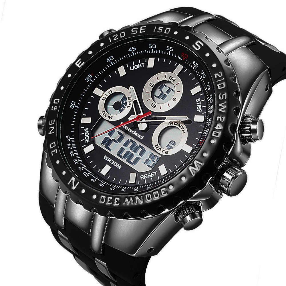 Readeel קוורץ שעון יד לגברים צבאי ספורט מותג העליון שעונים עמיד למים LED דיגיטלי שעוני גברים קוורץ שעוני יד שעון זכר