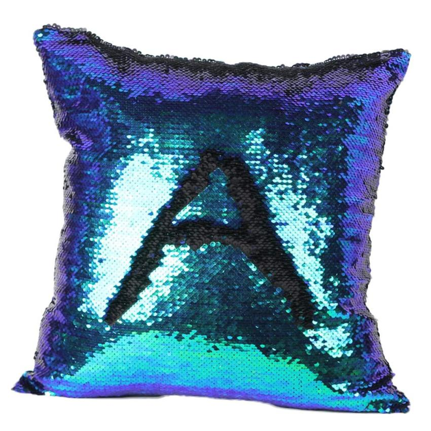 2017 DIY Mermaid Sequin Cushion Cover Magical Pink Throw Pillowcase Color Changing Reversible Pillow Case 725