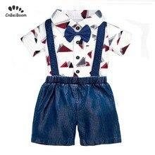 2019 New Summer Baby boy set newborn clothing sets Boys Dress fashion cotton romper denim overalls jeans shorts girl boys suit недорого