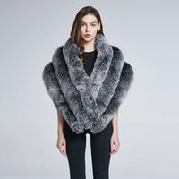 Women's winter coat fox fur collar warm fur shawl scarf leather fur coat warm stripes 2018 new discount promotions HBY P17