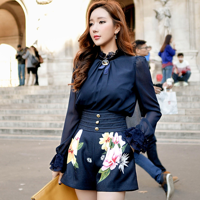 Original 2016 Brand Short Pants Summer Big Size Slim Waist Elegant Casual High Waist Navy Blue Print Women Shorts Wholesale