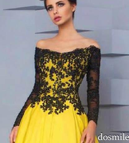 Vestido amarillo con encaje negro