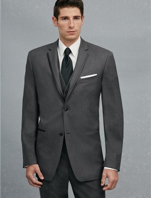 New Arrival Two Buttons Dark Grey Groom Tuxedos Groomsmen Men\'s ...
