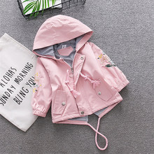 girls jackets autumn spring kids girl hooded coat flower embroidery children outerwear clothing for little girl outfits(China)