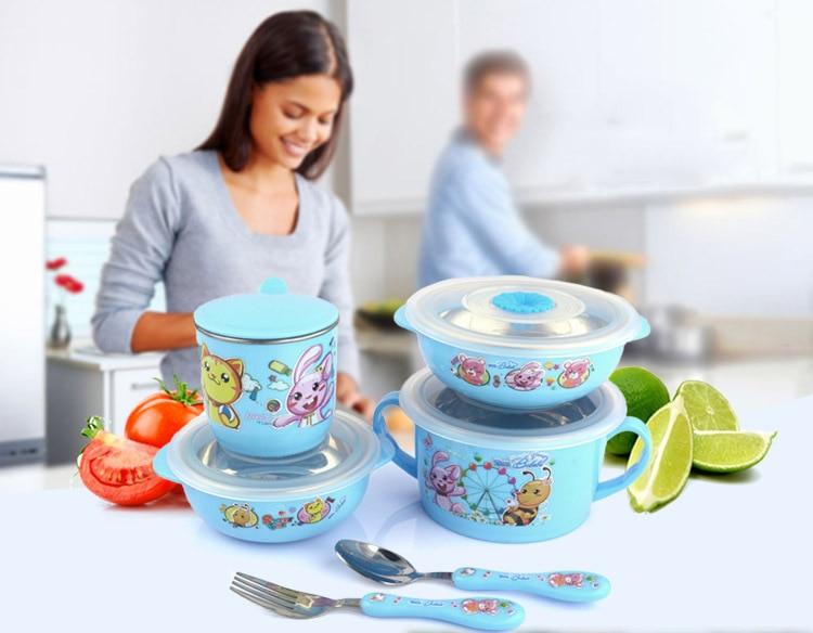 ... 6Pcs/Set Cartoon Baby Tableware Set Stainless Steel Baby Dinnerware  Lovely Learning Dishes Platos Children