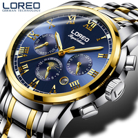 LOREO 2019 Fashion Blue Design Complete Calendar Three Small Dial Silver Stainless Steel Automatic Mechanical Watches for Men