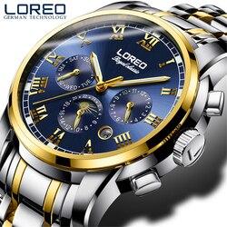 LOREO 2019 mody niebieski projekt kompletna kalendarz trzy małe pokrętło srebrny ze stali nierdzewnej automatyczne zegarki mechaniczne dla mężczyzn w Zegarki mechaniczne od Zegarki na