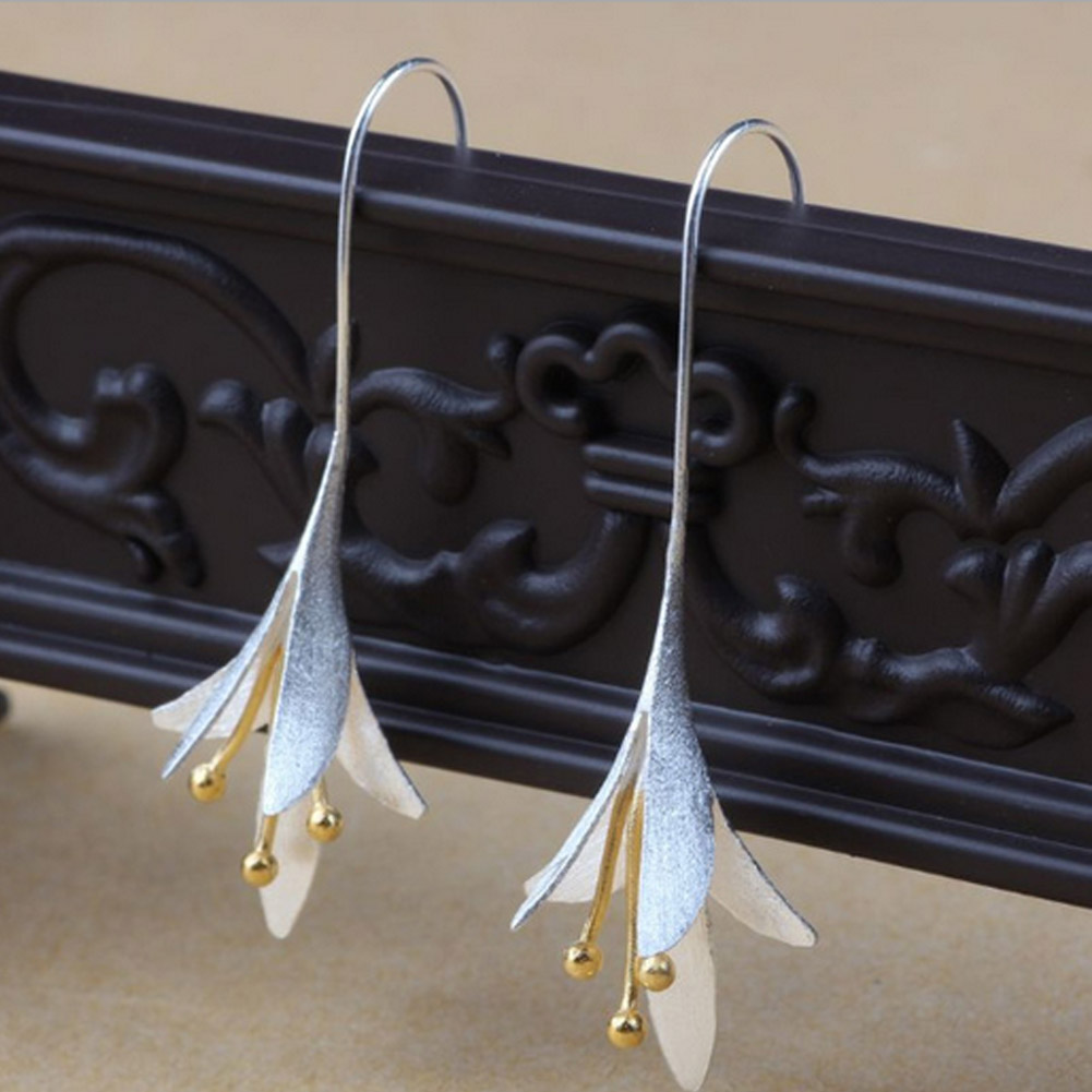2017 Silver Color Long Orchid Flower Earrings For Women New Design Lovely Girls Statement Jewelry Mother's Day Gift