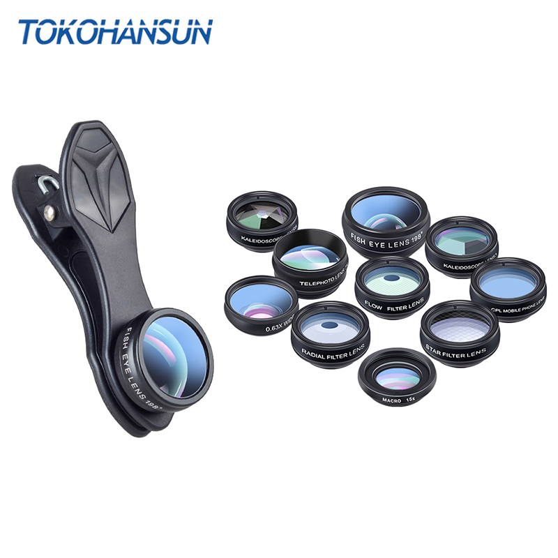 10 in 1 Mobile Phone Camera Lens Kit Fisheye Wide Angle macro Lens CPL Filter Kaleidoscope and 2X telescope Lens for smartphone