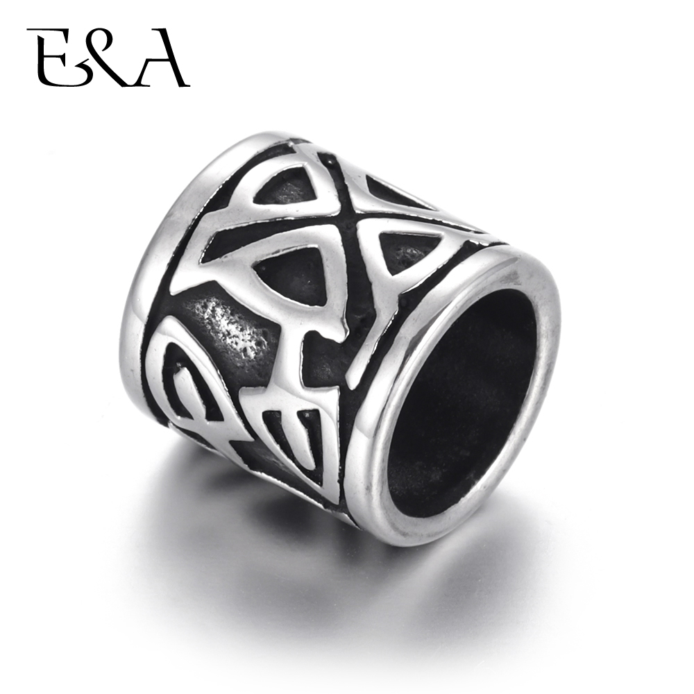 Stainless Steel Viking Beads Large Hole Blacken Cylinder Slider Spacer Fit 8mm Leather Bracelet Jewelry Making DIY Bead Supplies in Beads from Jewelry Accessories