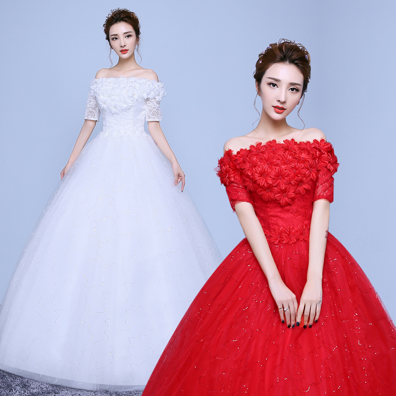 Red white boat neck short sleeve lace wedding dresses for Short red and white wedding dresses