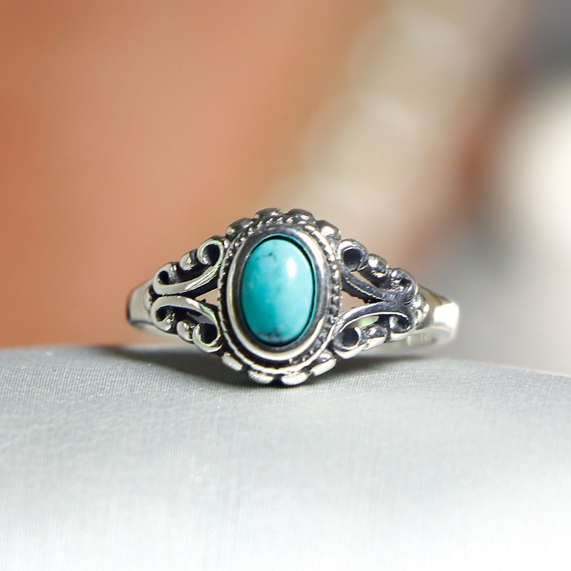 Elegant Quality 925 Rings Adjustable Vintage Turquoise Ring 925 Sterling Silver Ring For Women 925 Jewelry