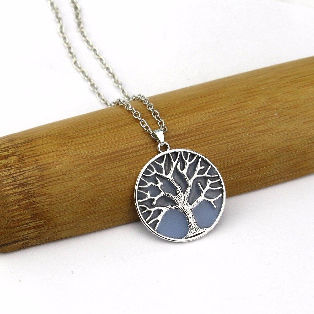Для женщин Романтический световой дерево живой кулон цепи кристалл Цепочки и ожерелья флуоресценции камень Ночной свет Модные украшения