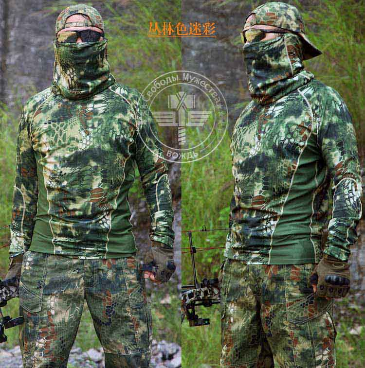 Outdoor Tactical Camouflage Long Sleeve T-shirt with Hunting Camping Tactical Army Military Shirt