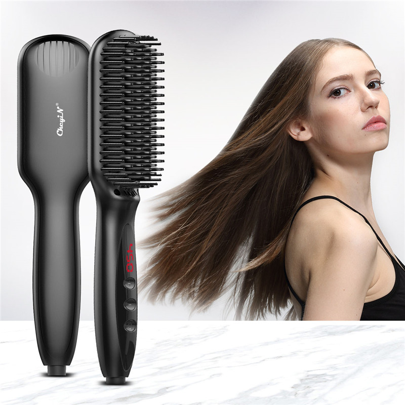 Fast Heating Hair Straightener Comb Ceramic Electric Hair Brush Comb Irons Straight Comb Styling Tool Temperature Control P40