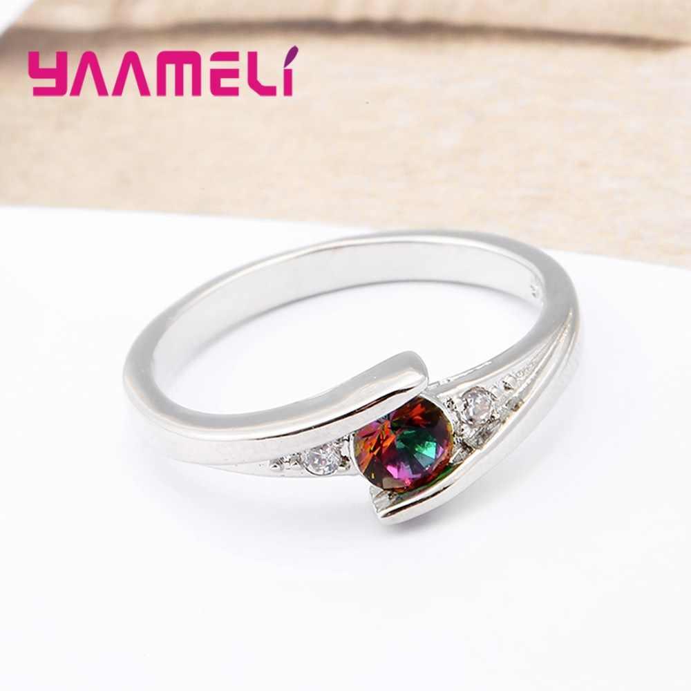 Fashion 1PC Pernikahan Cincin untuk Wanita Tinggi Kualitas 925 Sterling Silver Rainbow CZ Batu Mengusulkan Keterlibatan Cincin