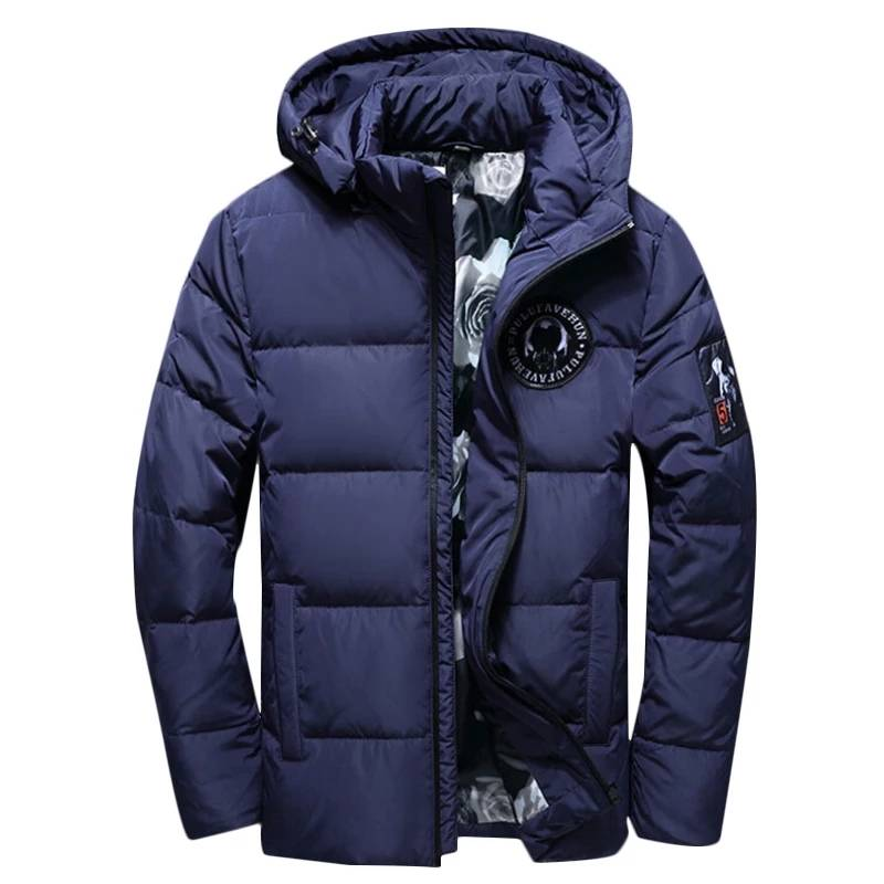 цена на 2018 New winter men's white duck down jacket short section thick hooded leisure men's Solid Colors jackets male coats