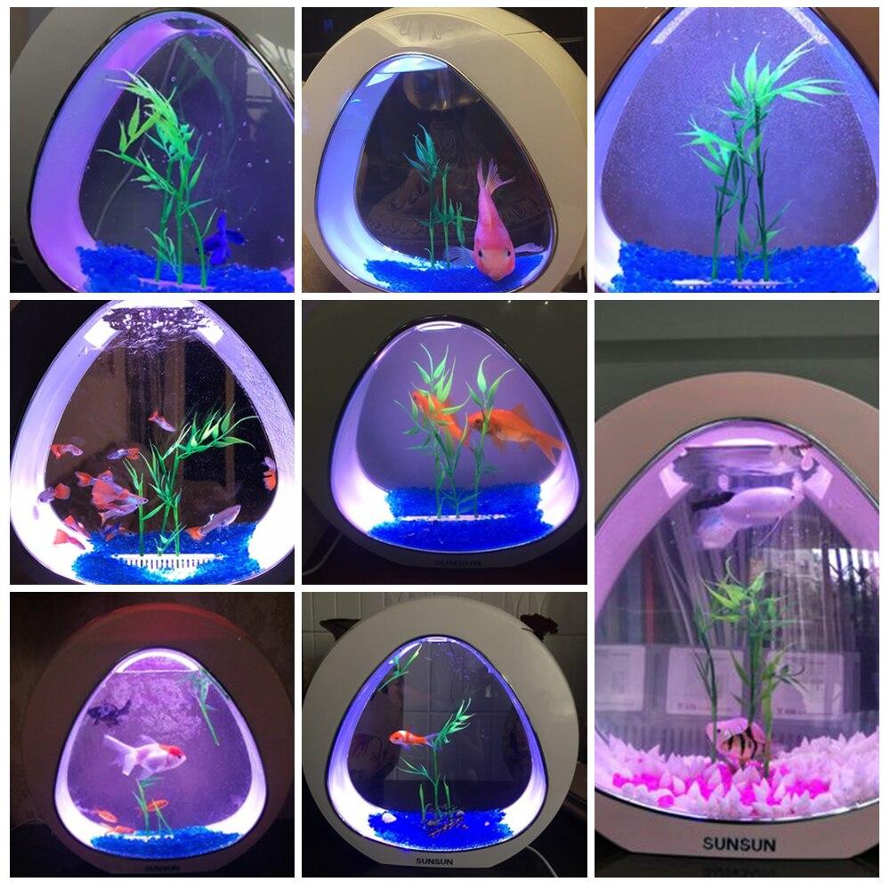 Aquarium 4L Mini Acrylic Nano Table Top Ecology Fish Tank Integration Filter LED Light for Beta Fish Office Decor 110V 220V in Aquariums Tanks from Home Garden