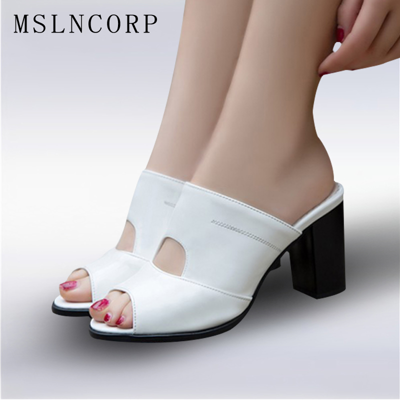 Plus Size 34-47 New Fashion Casual Patent Leather Women Slippers Outside Fish Head Roman Shoes Summer Pumps black White Sandals