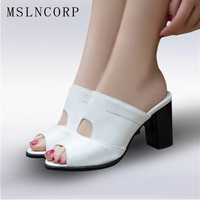 Plus Size 34 47 New Fashion Casual Patent Leather Women Slippers Outside Fish Head Roman Shoes Summer Pumps black White Sandals