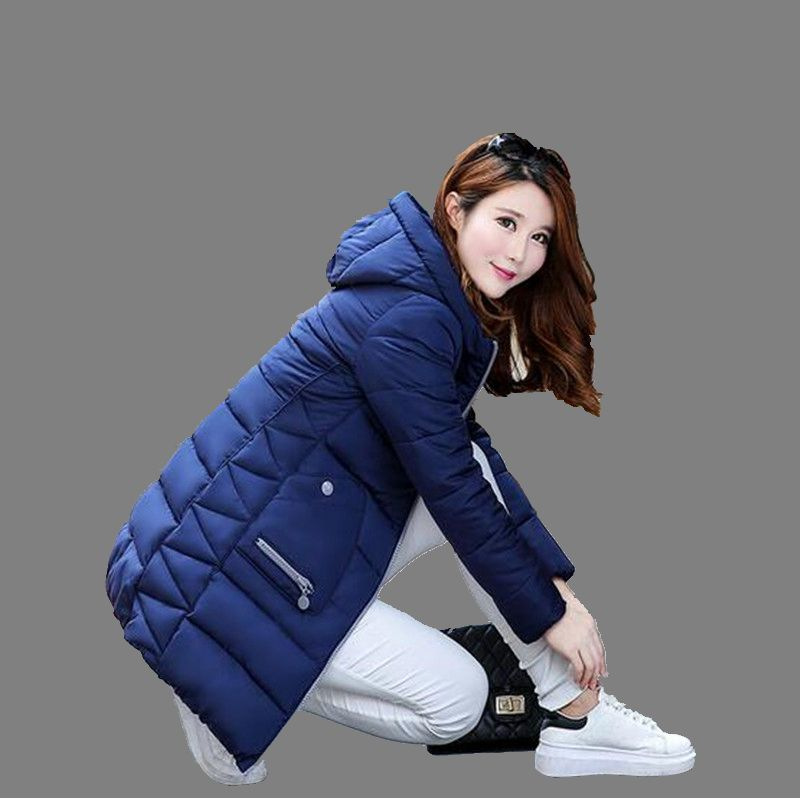 Korea 2016 Winter Latest Fashion Medium long Slim Women Coat Leisure Big yards Pure color Hooded
