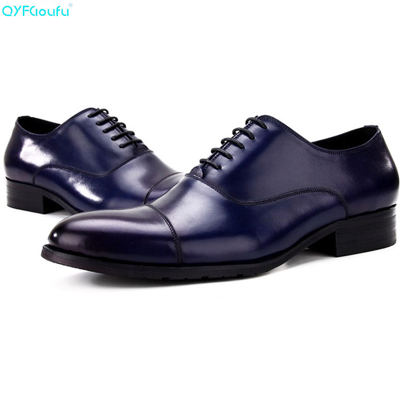 QYFCIOUFU Formal Genuine Leather Men Oxford Shoes Business Dress Shoes Italian Handmade Luxury Designers Pointed Cap Shoes
