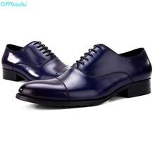 QYFCIOUFU Formal Genuine Leather Men Oxford Shoes Business Dress Italian Handmade Luxury Designers Pointed Cap