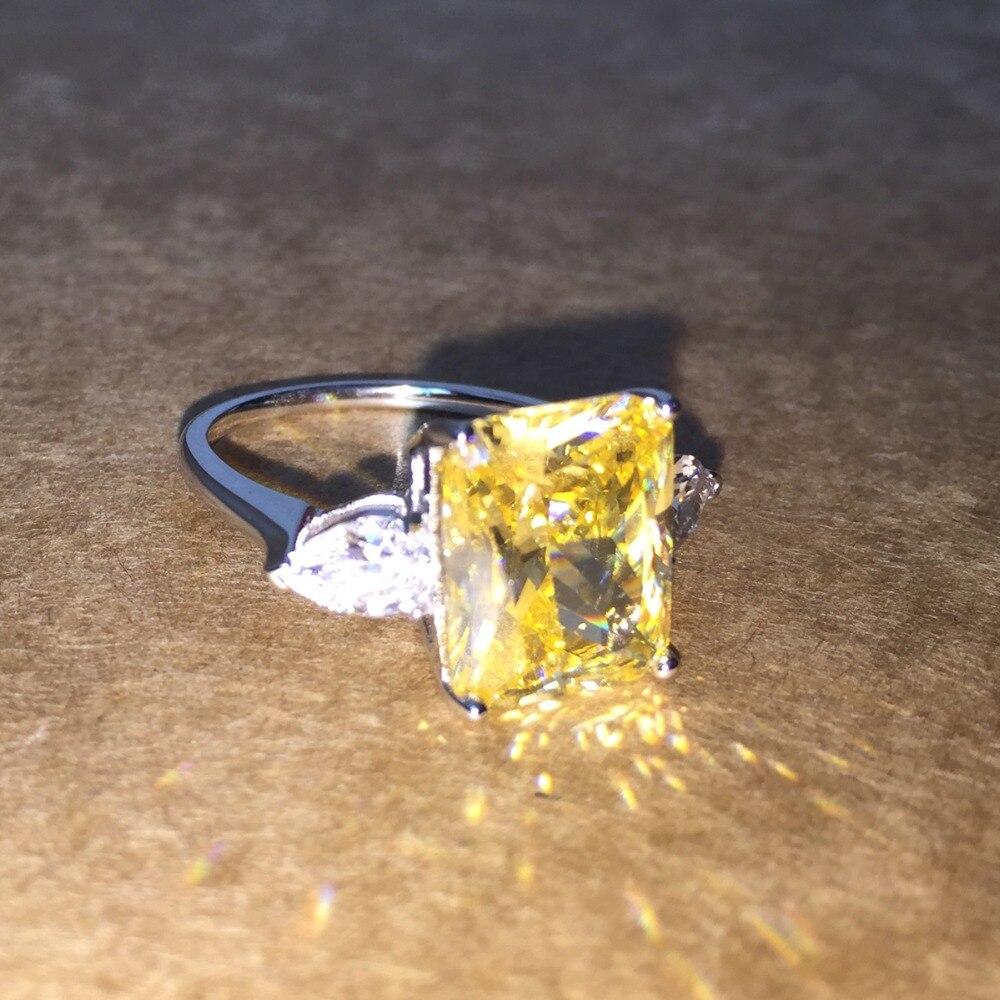 Bague de fiançailles en argent massif zircon cubique couleur argent CZ bague en pierre bijoux pour femmes anel vente en gros - 2
