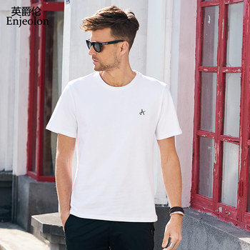 Enjeolon Summer T shirt Short Sleeved O-neck Black White Letter Print 100% Cotton Tshirts Casual Male Top Tee Shirt T8070 casual glasses print tee in white