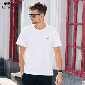 Enjeolon Summer T shirt Short Sleeved O-neck Black White Letter Print 100% Cotton Tshirts Casual Male Top Tee Shirt T8070 letter print stepped hem tee