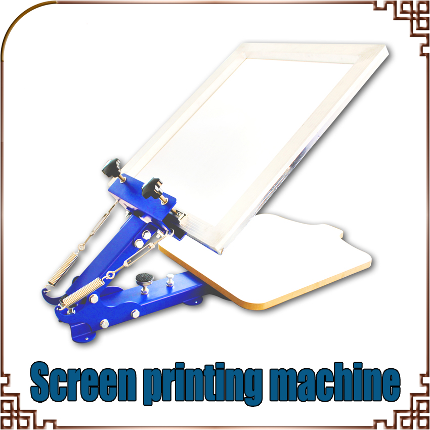 все цены на 1PC Manua one color manual screen printing machine ltable-board fixed screen machine printing with blue онлайн