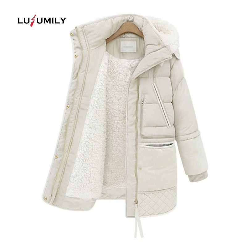 Lusumily 2019 Spring Winter Women s Jackets Cotton Coat Padded Long Slim Hooded Parkas Female Outwear