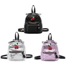 Small Backpack Female Bag Fashion Women's Backpack High Quality Cherry PULleather Burst Crack Mini Shoulder Bag College Style(China)