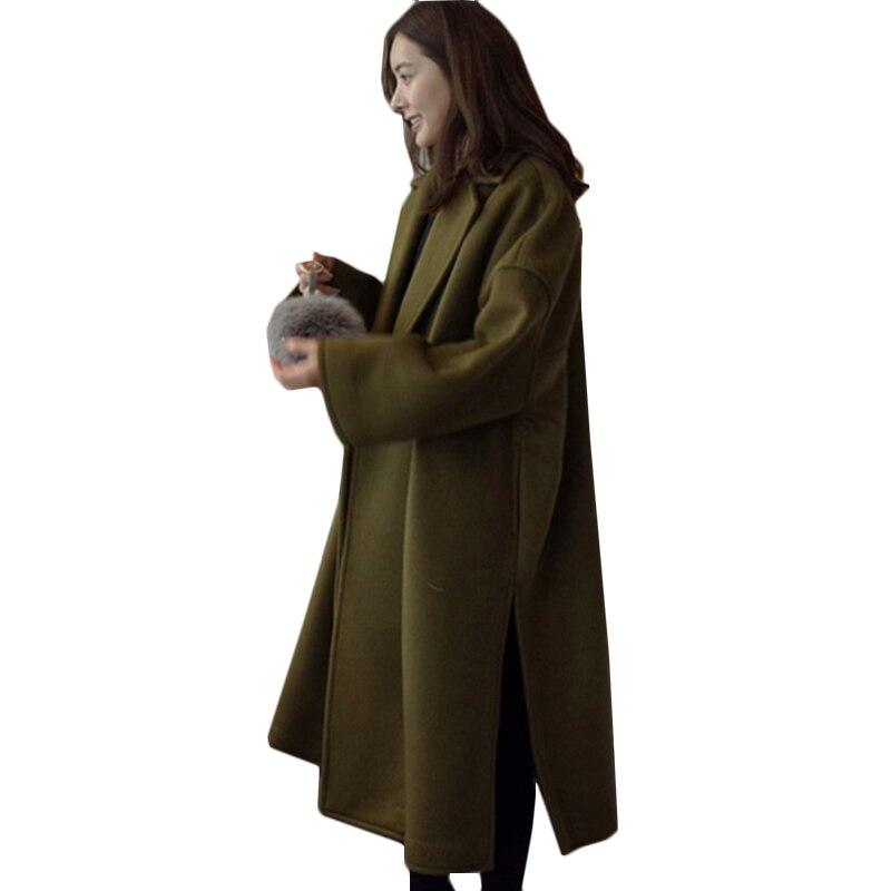 2018 Plus Size 4XL Women Winter Jacket Army Green/Black Fashion Long Coat Women Coat Female Thicked Winter Wool Coat
