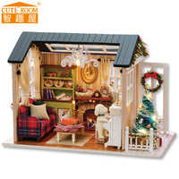 CUTE ROOM DIY Wooden House Miniaturas with Furniture DIY Miniature House Dollhouse Toys for Children Christmas and Birthday Z09
