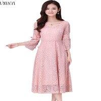 4XL 5XL 6XL Plus Size Elegant lace Dresses New Arrival Female 2017 Casual Long lace Dress Pink Sweet Spring Women Dress Vestidos