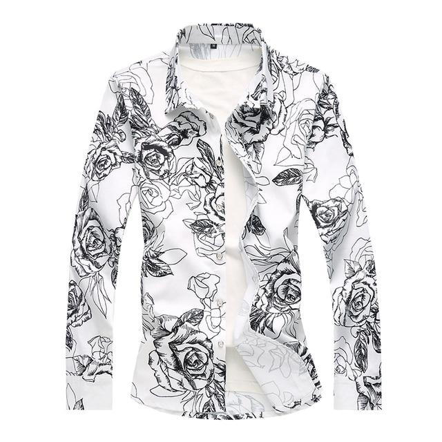 2db7a8c7de Pequeño tramo hombres camisetas de manga larga de flores negro blanco moda  Casual hombres vestidos gran